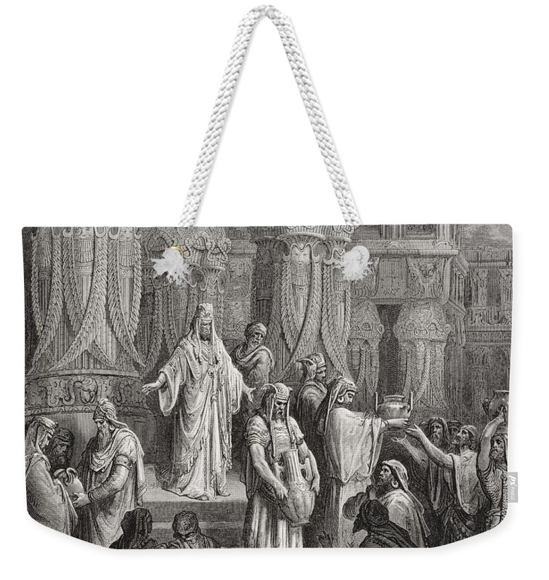 King Of The Persians Weekender Tote Bag featuring the painting Cyrus Restoring The Vessels Of The Temple by Gustave Dore