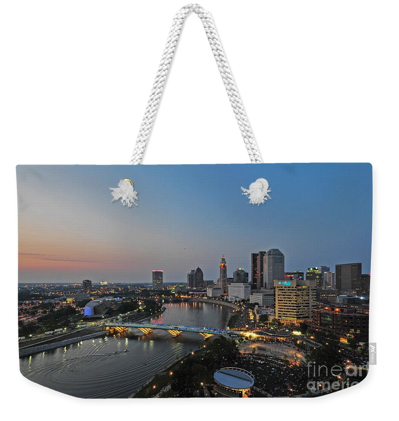Columbus Weekender Tote Bag featuring the photograph D2l448 Columbus Ohio Night Skyline Photo by Ohio Stock Photography