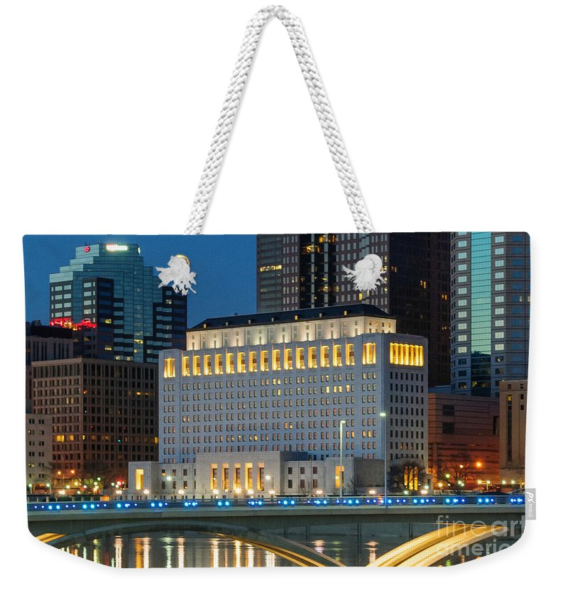 Columbus Weekender Tote Bag featuring the photograph D2l496 Columbus Ohio Night Skyline by Ohio Stock Photography
