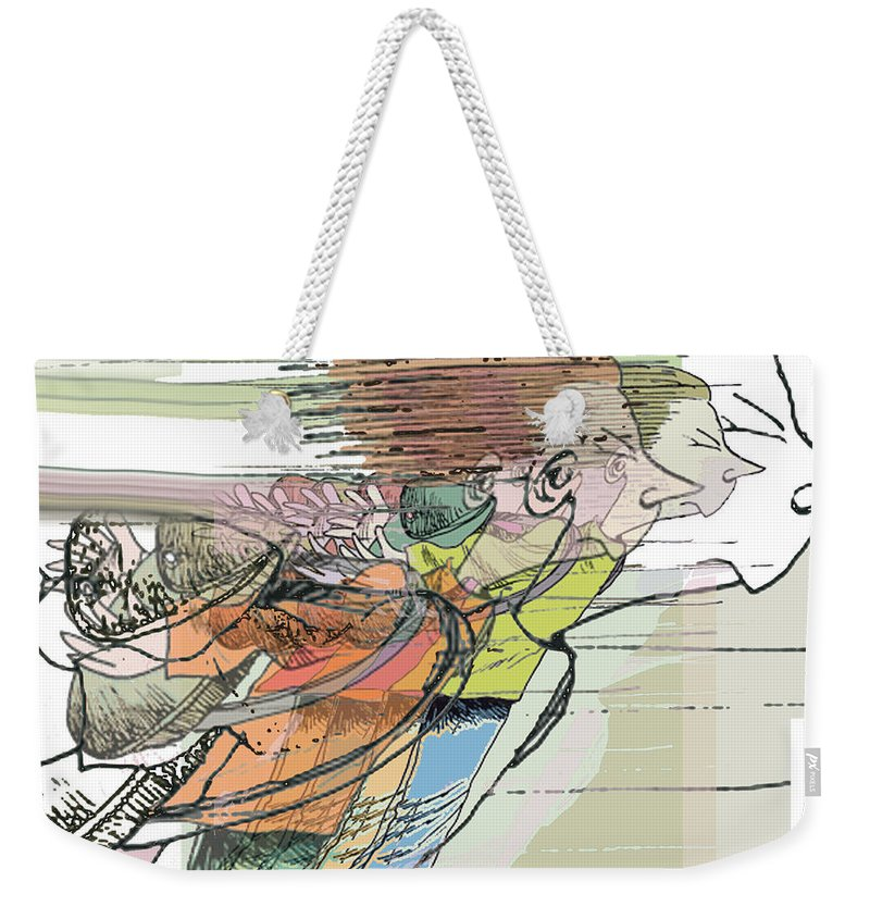 Cartoon Weekender Tote Bag featuring the painting Daddy's Home Inspired Whirrrrrrr by Tony Rubino