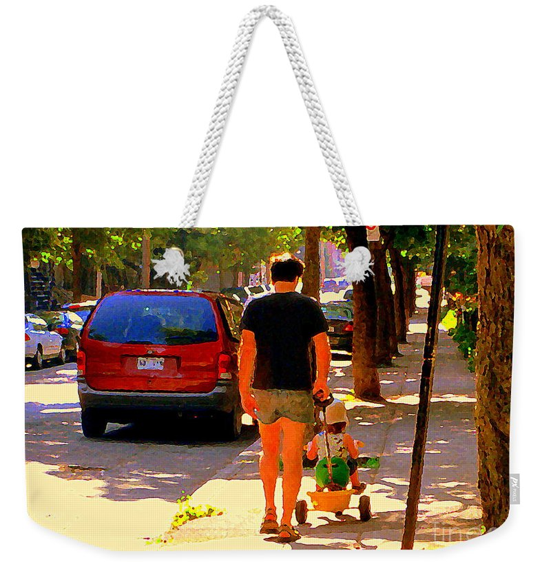 Montreal Weekender Tote Bag featuring the painting Daddy's Little Buddy Perfect Day Wagon Ride Montreal Neighborhood City Scene Art Carole Spandau by Carole Spandau