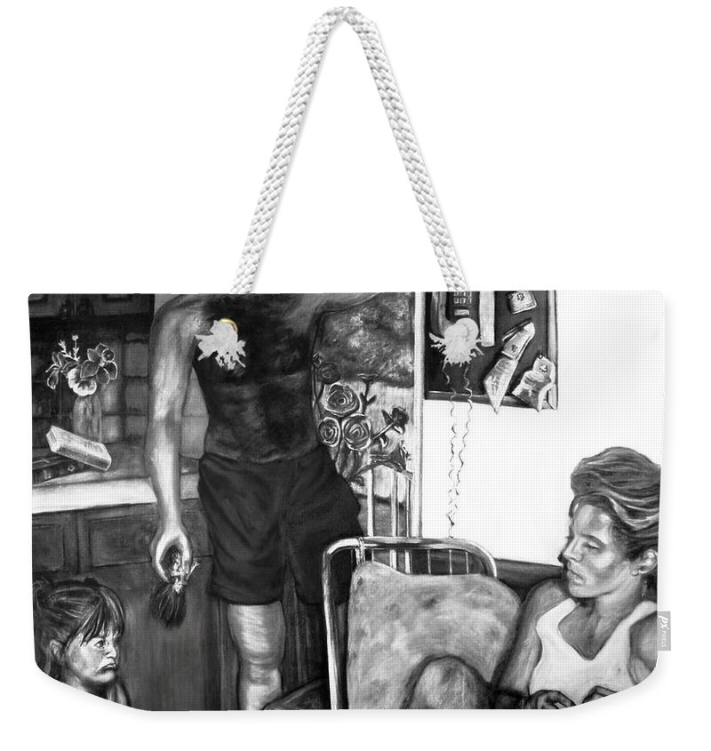 Family Weekender Tote Bag featuring the drawing Daddy's Little Girl by Devon Reiffer