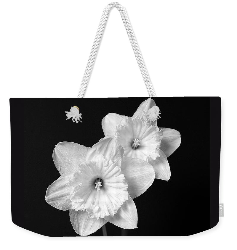 Daffodil Weekender Tote Bag featuring the photograph Daffodil Flowers Black And White by Jennie Marie Schell