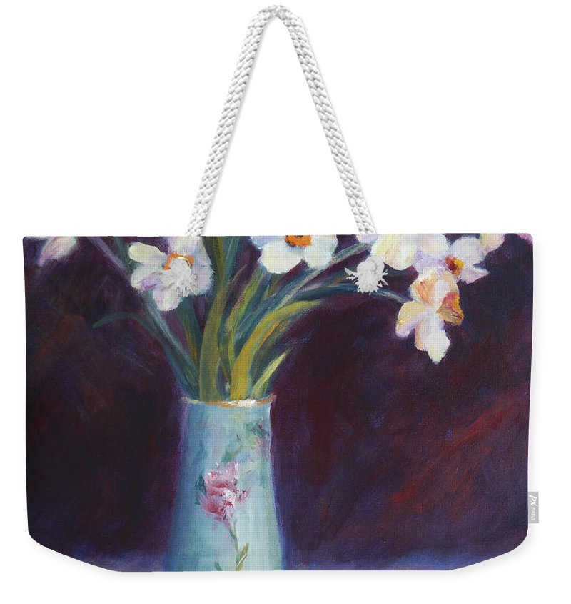 Daffodil Weekender Tote Bag featuring the painting Daffodils And Cherries by Carolyn Jarvis