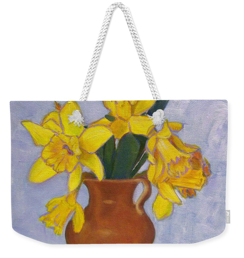 Daffodils Weekender Tote Bag featuring the painting Daffodils by Robie Benve