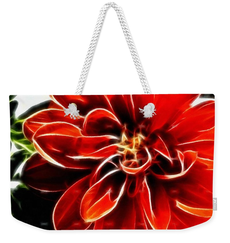 Dahlia Expressive Brushstrokes Weekender Tote Bag featuring the photograph Dahlia Expressive Brushstrokes by Barbara Griffin