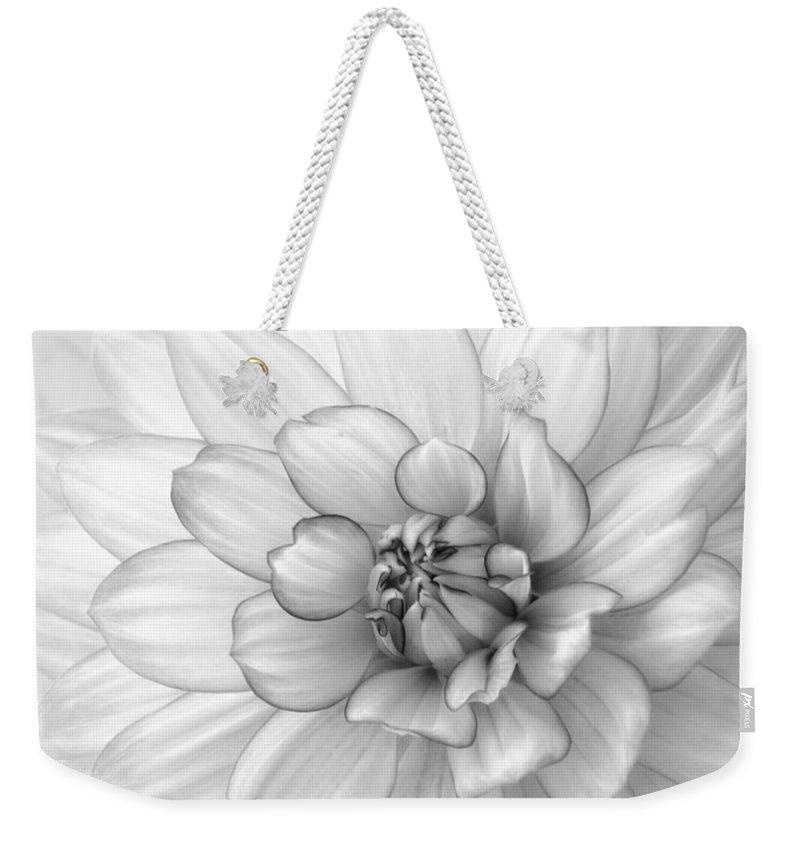 Dahlia Weekender Tote Bag featuring the photograph Dahlia Flower Black And White by Kim Hojnacki