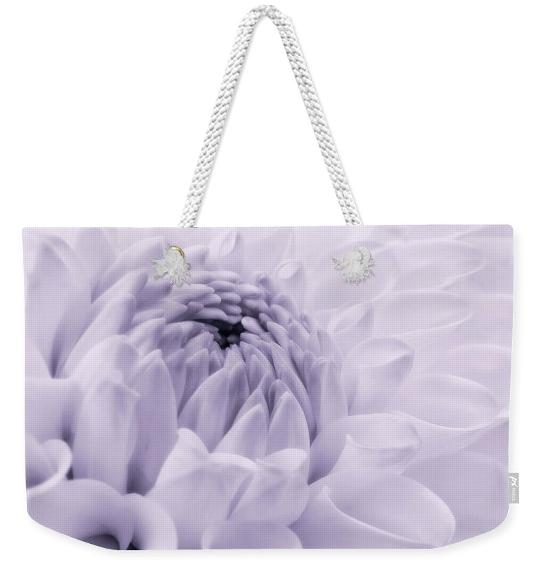 Dahlia Weekender Tote Bag featuring the photograph Dahlia Flower In Lavender by Jennie Marie Schell