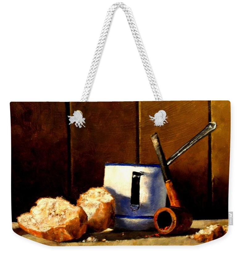 Still Life Weekender Tote Bag featuring the painting Daily Bread Ver 1 by Jim Gola