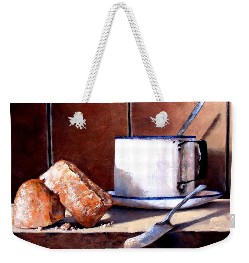 Still Life Weekender Tote Bag featuring the painting Daily Bread Ver 2 by Jim Gola