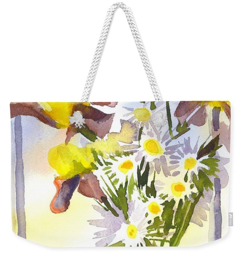Daisies With Yellow Irises Weekender Tote Bag featuring the painting Daisies With Yellow Irises by Kip DeVore
