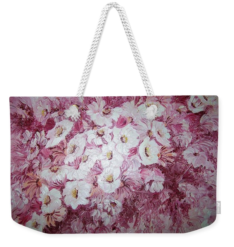 Weekender Tote Bag featuring the painting Daisy Blush by Karin Dawn Kelshall- Best