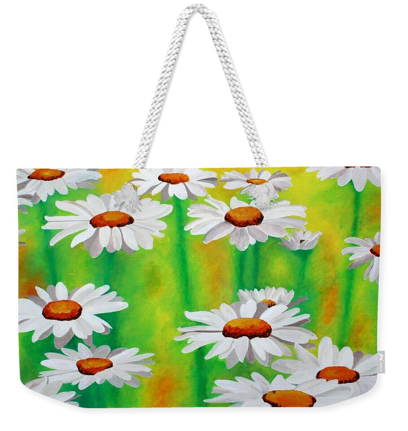 Common Daisy Weekender Tote Bag featuring the painting Daisy Day by Tracey Harrington-Simpson