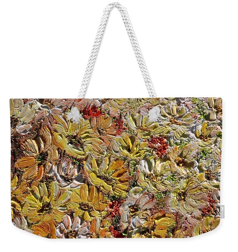 Daisies Weekender Tote Bag featuring the painting Daisy Field by Karin Dawn Kelshall- Best