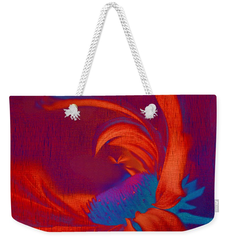 Red Weekender Tote Bag featuring the digital art Daisy Fun - A03ct02 by Variance Collections