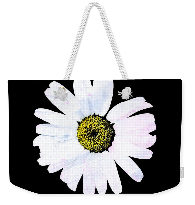 Daisy Weekender Tote Bag featuring the photograph Daisy On Black by Marie Jamieson