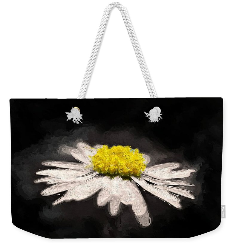 Daisy Flower White Yellow Expressionism Impressionism Painting Weekender Tote Bag featuring the painting Daisy by Steve K