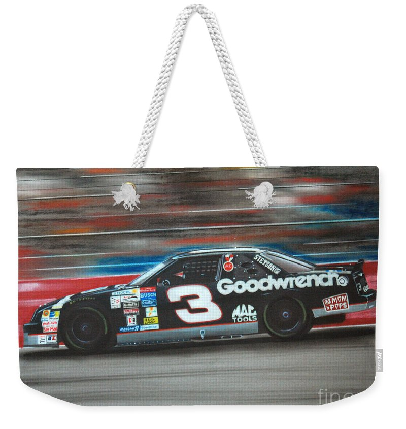 Car Weekender Tote Bag featuring the drawing Dale Earnhardt Goodwrench Chevrolet by Paul Kuras