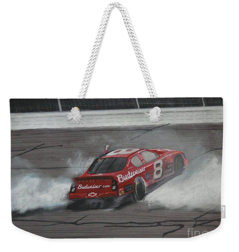 Car Weekender Tote Bag featuring the drawing Dale Earnhardt Junior Victory Burnout by Paul Kuras