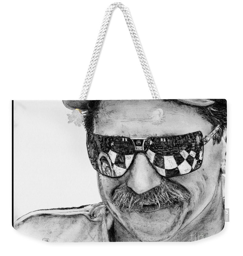 Dale Earnhardt Sr Weekender Tote Bag featuring the drawing Dale Earnhardt Sr In 1995 by J McCombie