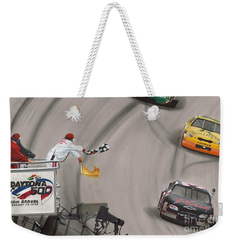 Car Weekender Tote Bag featuring the drawing Dale Earnhardt Wins Daytona 500-checkered Flag by Paul Kuras