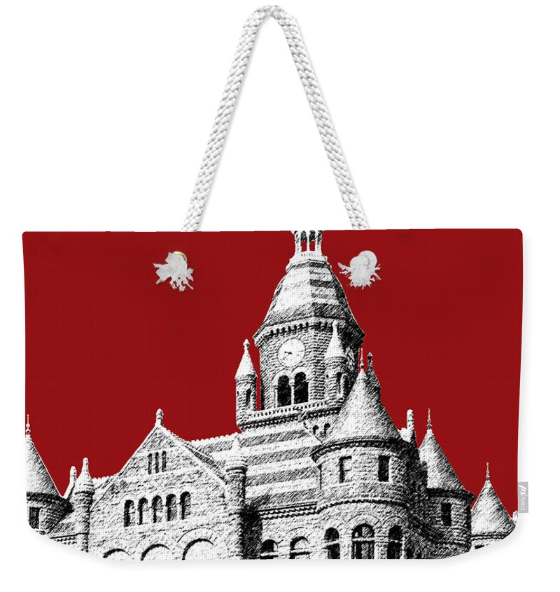 Architecture Weekender Tote Bag featuring the digital art Dallas Skyline Old Red Courthouse - Dark Red by DB Artist