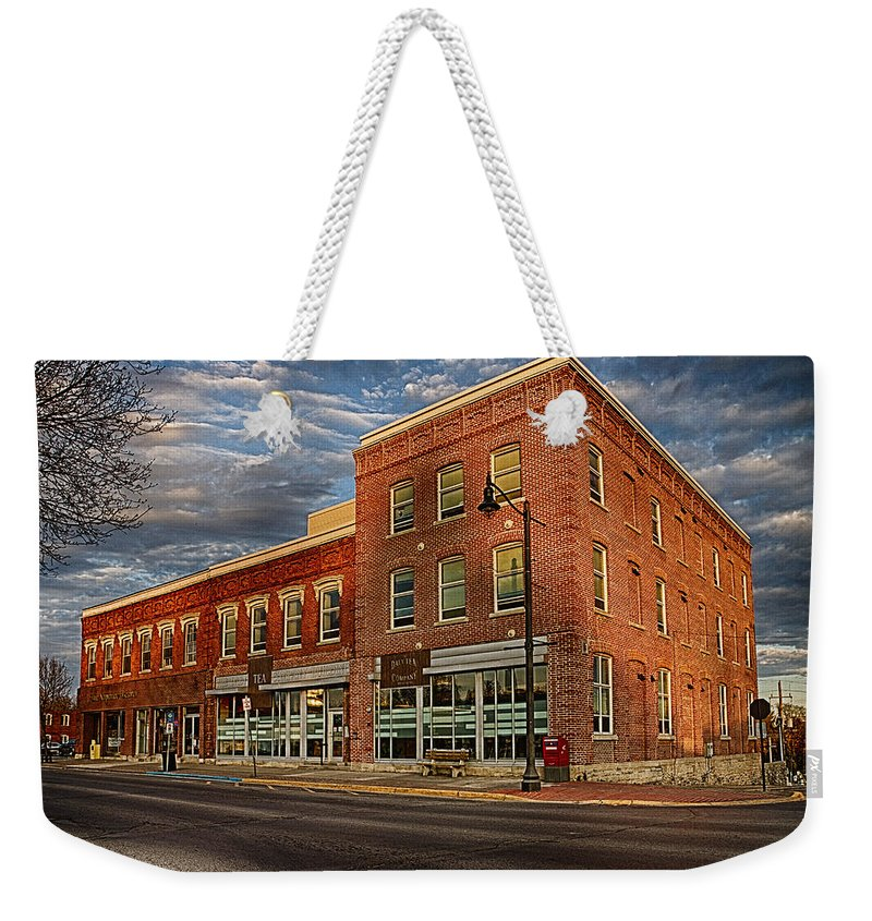 Hdr Weekender Tote Bag featuring the photograph Daly Tea Building by John Herzog