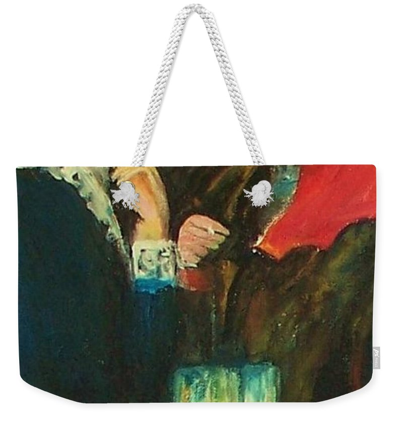 Dance At Bougival Weekender Tote Bag featuring the painting Dance At Bougival Close Up by Eric Schiabor