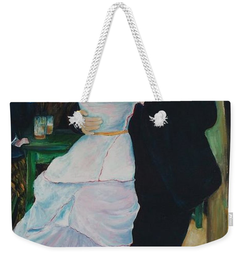 Impressionism Weekender Tote Bag featuring the painting Dance At Bougival Renoir by Eric Schiabor
