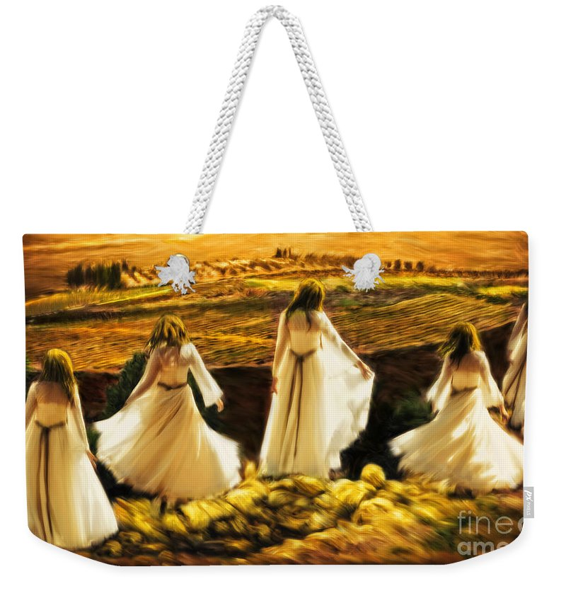 Shiloh Prophetic Art Weekender Tote Bag featuring the painting Dance At Shiloh by Constance Woods