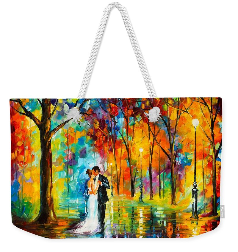Afremov Painting Palette Knife Art Handmade Surreal Abstract Oil Landscape Original Realism Unique Special Life Color Beauty Admiring Light Reflection Piece Renown Authenticity Smooth Certificate Colorful Beauty Perspective Color Dance Love Weekender Tote Bag featuring the painting Dance Of Love by Leonid Afremov