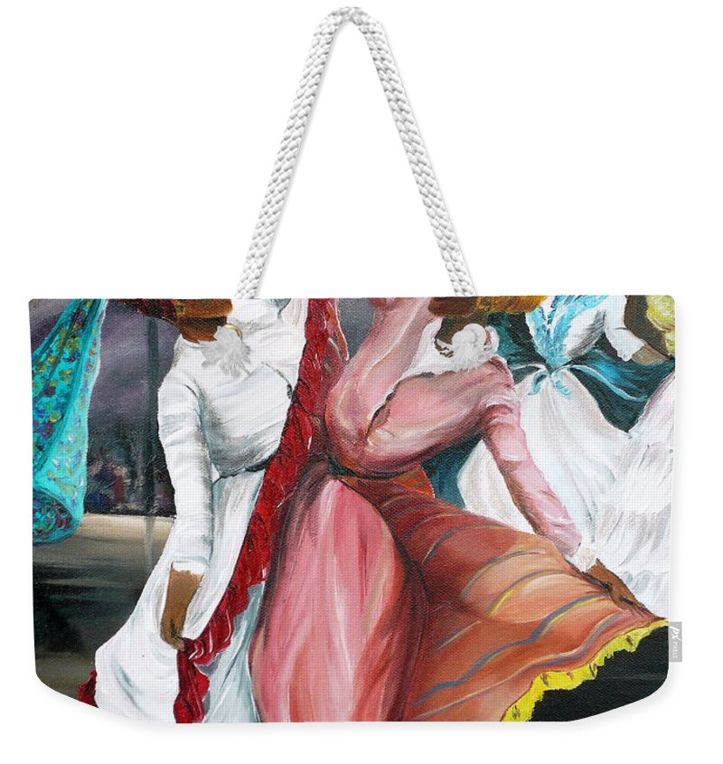 Dancers Folk Caribbean Women Painting Dance Painting Tropical Dance Painting Weekender Tote Bag featuring the painting Dance The Pique 2 by Karin Dawn Kelshall- Best