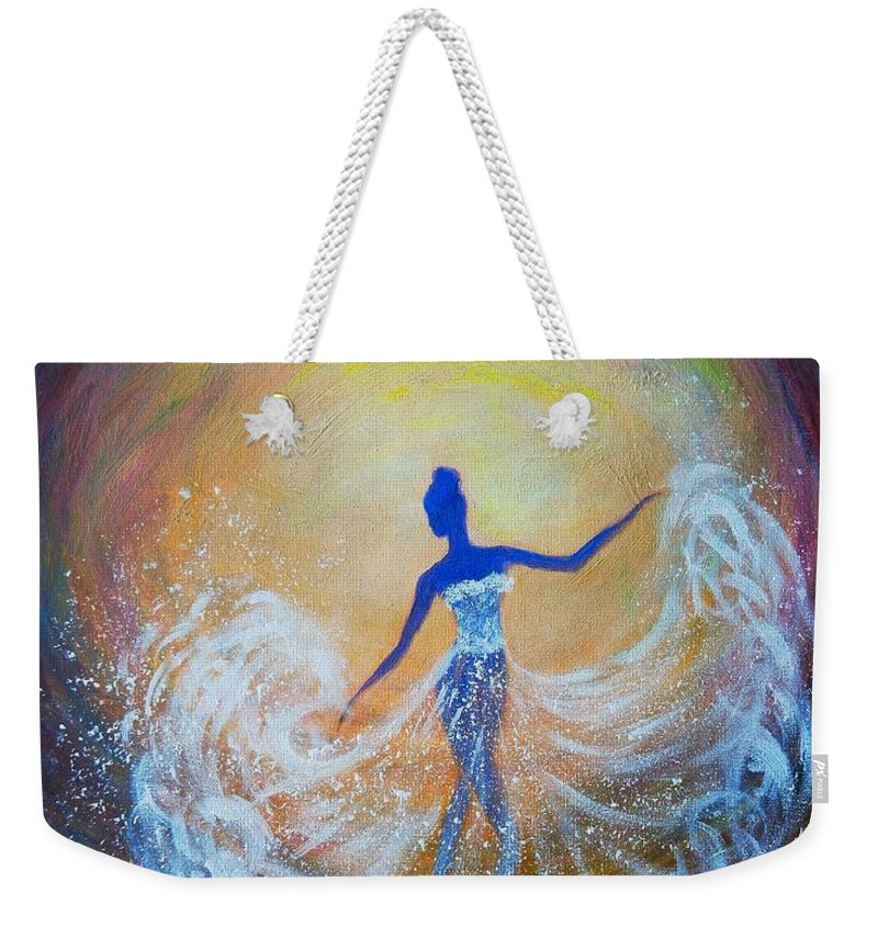 Dancer Weekender Tote Bag featuring the painting Dancer In White Dress by Lilia D