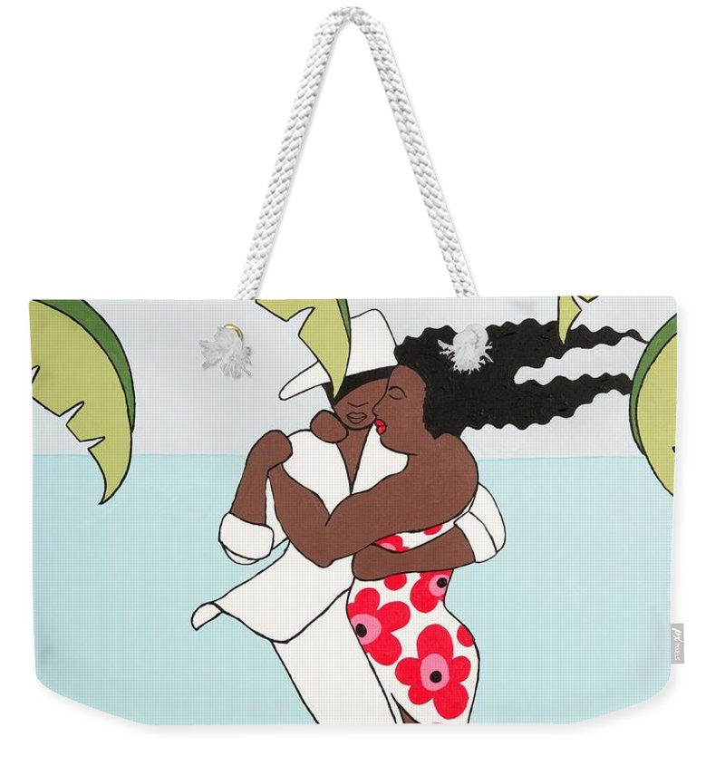 Caribbean Weekender Tote Bag featuring the painting Dancers 2 by Trudie Canwood
