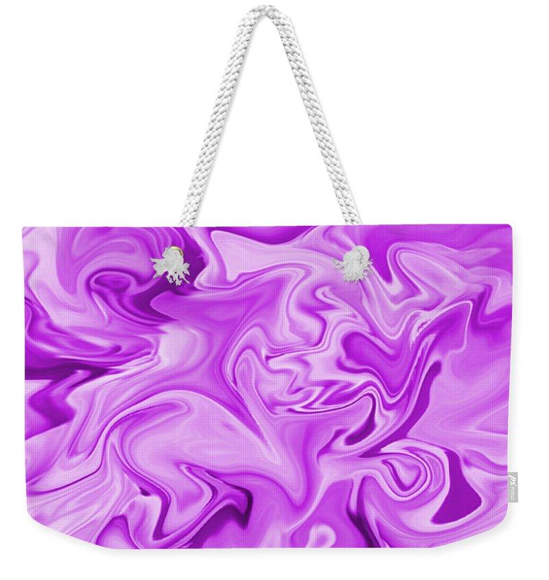 Purple Weekender Tote Bag featuring the digital art Dancing Flames-purple by Mechala Matthews