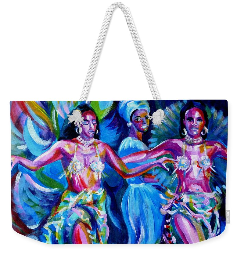 Music Weekender Tote Bag featuring the painting Dancing Panama by Anna Duyunova