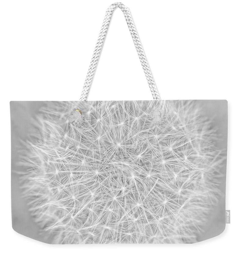 Dandelion Weekender Tote Bag featuring the photograph Dandelion Marco Abstract Gray by Jennie Marie Schell