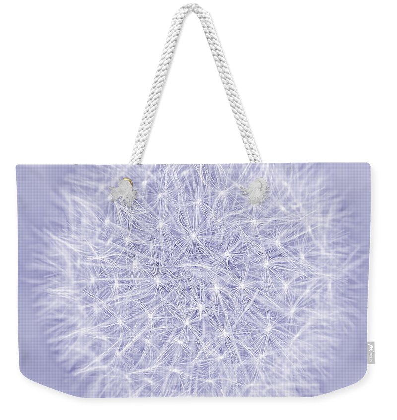 Dandelion Weekender Tote Bag featuring the photograph Dandelion Marco Abstract Lavender by Jennie Marie Schell