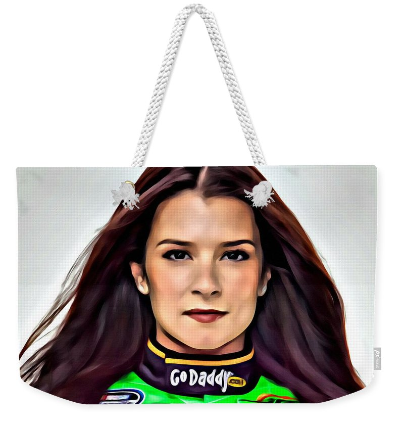 Sport Weekender Tote Bag featuring the painting Danica Patrick by Florian Rodarte