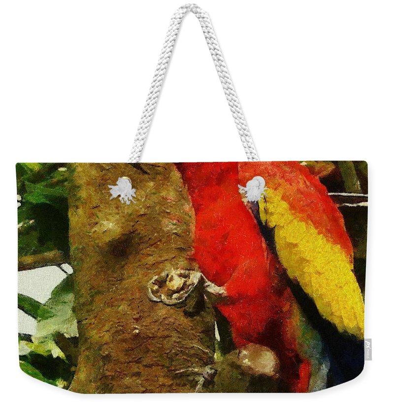 America Weekender Tote Bag featuring the painting Danse Macaw by Jeffrey Kolker