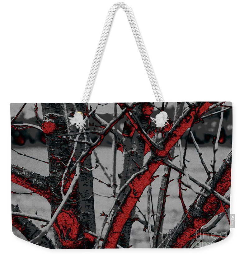 Dark Weekender Tote Bag featuring the digital art Dark Branches by Carol Lynch