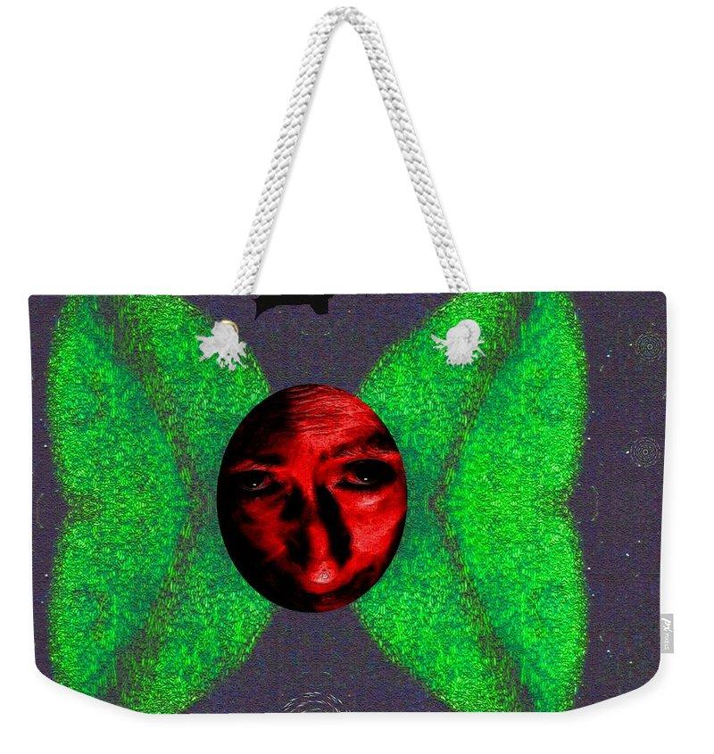 Angel Weekender Tote Bag featuring the mixed media Dark Fallen Angel by Pepita Selles