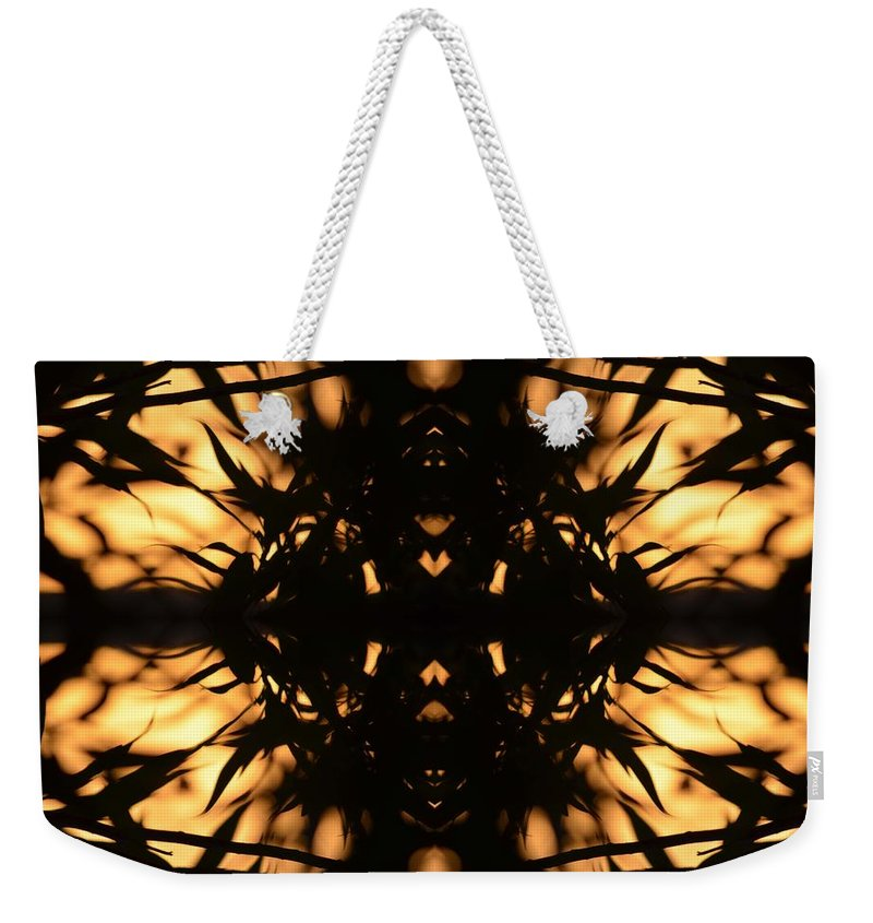 Nature Silhouetted Weekender Tote Bag featuring the photograph Dark Flame Of Nature by Deprise Brescia