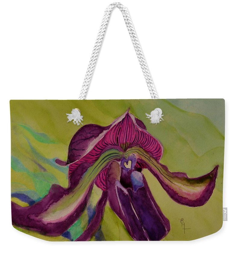 Orchid Weekender Tote Bag featuring the painting Dark Orchid by Beverley Harper Tinsley