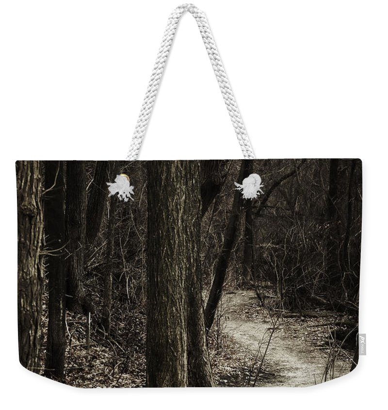 Path Weekender Tote Bag featuring the photograph Dark Winding Path by Scott Norris