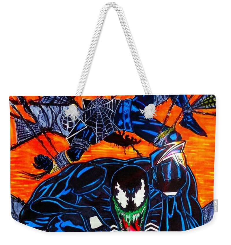 Justin Moore Weekender Tote Bag featuring the drawing Darkhawk Issue 13 Homage by Justin Moore