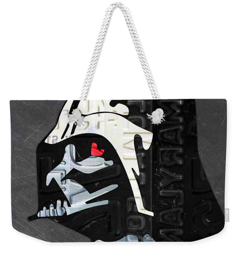 Darth Vader Weekender Tote Bag featuring the mixed media Darth Vader Helmet Star Wars Portrait Recycled License Plate Art by Design Turnpike