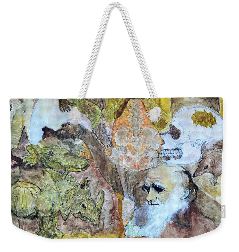 Evolution Weekender Tote Bag featuring the painting Darwinism					 by Charles M Williams