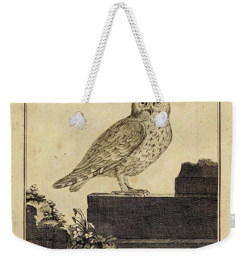 Illustration Weekender Tote Bag featuring the drawing Das Kautzgen Mit Ohren by Philip Ralley