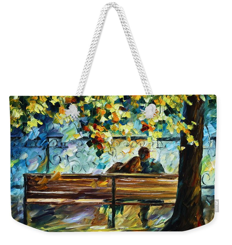 Landscape Weekender Tote Bag featuring the painting Date on the Bench by Leonid Afremov